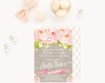Shabby Chic First Birthday Invitation, Rustic Floral 1st Birthday Invitation, Baby Girl Birthday Invitation, Vintage 1st 2nd 3rd Birthday