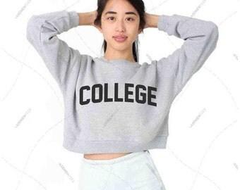 "Women - Girls - Premium Retail Fit ""College"" American Apparel California Fleece Cropped Sweatshirt"