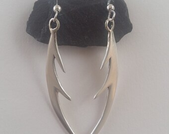 Handmade silver 'antler' style earrings