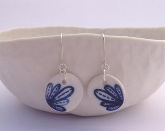 Geometric Flower earrings. Sterling silver. Porcelain earrings. Blue & white. Porcelain. Earrings. Porcelain jewelry. Clay. Ceramic earring
