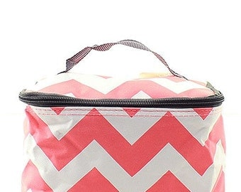 Monogrammed Coral Chevron Cosmetic Bag -Personalized Gift-Monogram Cosmetic Bag-Personalized Cosmetic Bag-Monogram Makeup Bag