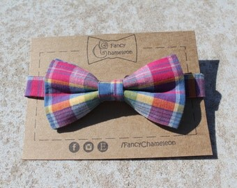 Plaid Red & Blue Bowtie, Yellow, Green, Adjustable Pre-tied Bowtie, Adults Bowtie, Casual, Cotton