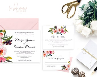 Printable Wedding Invitation Suite / Wedding Invite Set - The Eliza Grace Suite