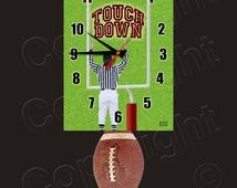 Football Clock with Swinging Football Pendulum • Touch Down! • Football Team Clock