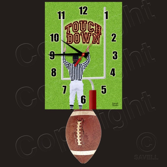 Football Clock with Swinging Football Pendulum • Touch Down! • Football Team Clock
