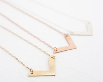 Xmas Jewelry Wife Necklace, Gold Filled Chevron Necklace, Dainty Silver Necklace, Triangle Necklace Dainty Gold Necklace, Rose Gold Necklace