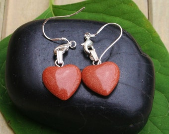 Cute Goldstone Harts Earrings With Sterling Silver Plated Hooks