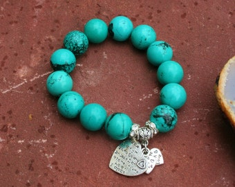 Turquoise Bracelet With Sterling Silver Hearts To Bail With Lyrics I Love You In Different Languages