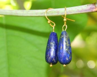 Beautiful Lapis Earrings, Blue Earrings, Lapis Earrings, Afghanistan, Modern lapis Earrings, Simple Earrings, Valentine Gift, Gift Mother