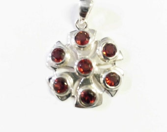 Garnet gemstone in sterling silver