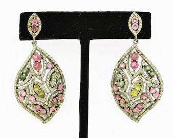 Turmoline Pave Diamond Earrings