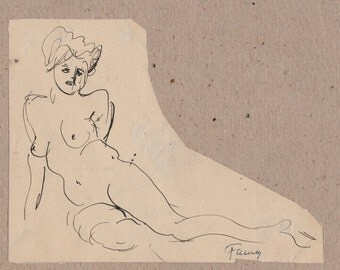 Study of nude woman sitting