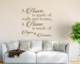 Family Wall Decal- Vinyl Wall Decal Quote A House is Made of Walls and Beams- Family Quote Wall Decal- Family Decor- Wall Decal Family #16