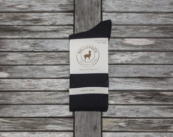 Socks black mid-calf Alpaca for woman