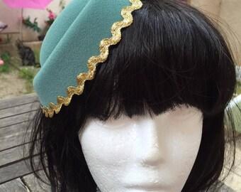Pillbox Hat Fascinator Green Gold Millinery Bibi Wool Felt Fifties