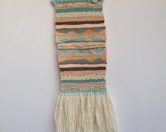 Hand woven, one of a kind, wall hanging - sea, shells and sand
