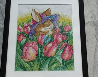 Completed country companions tulip field Cross stitch