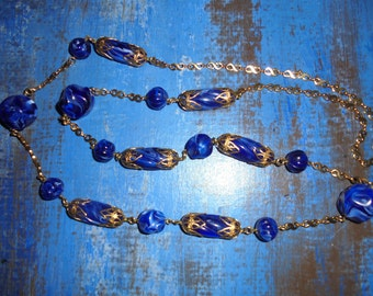 Necklace 80's / Vintage / / stones blue royal/80 cm/Glamour/gift Vintage