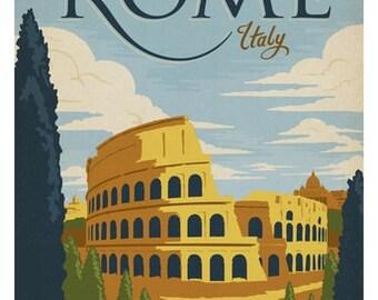Travel Poster, Vintage Travel Poster, Travel, Vintage, Rome, Italy