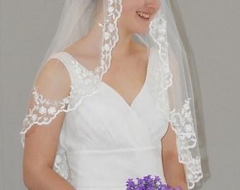 "Soft Gather Top Mantilla Veil - 34"" past elbow/ hip length bridal veil with traditional floral lace edge"