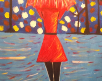 Canvas Acrylic Painting - A Walk In The Rain