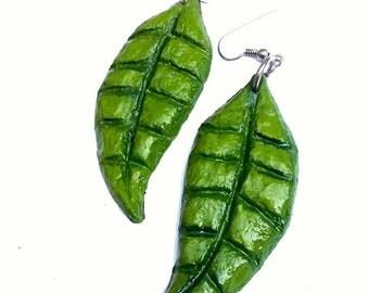 Leaf earrings Green leaf earrings Hippie earrings Leaf retro earrings Green hippie earrings Nature earrings Green jewelry Dangle earrings