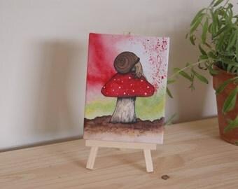 Brown Snail: Mini canvas & Easel