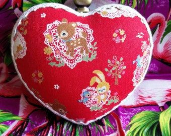 Cute kawaii deer heart shaped box clutch