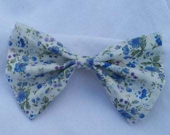 White and Blue Floral Fabric Hair Bow