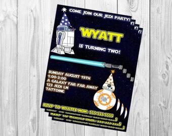 Star Wars Birthday Party Invitation. BB8 R2D2 Droids Jedi Party, Printable Invitation