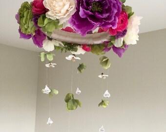 Flower Mobile, Floral Mobile, Girl Mobile, Crib Mobile, Floral Baby Mobile, Baby Girl Nursery Mobile, Crystal Mobile, Flower Chandelier