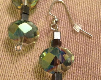 Beautiful Multicolored Semi Clear Drop Earrings with Black Square Spacers