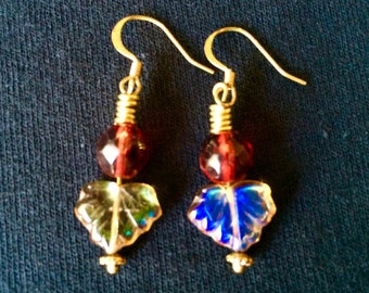 Handmade Iridescent Leaf Earrings