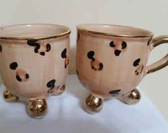 WHIMSICAL leopard spot - footed mugs.