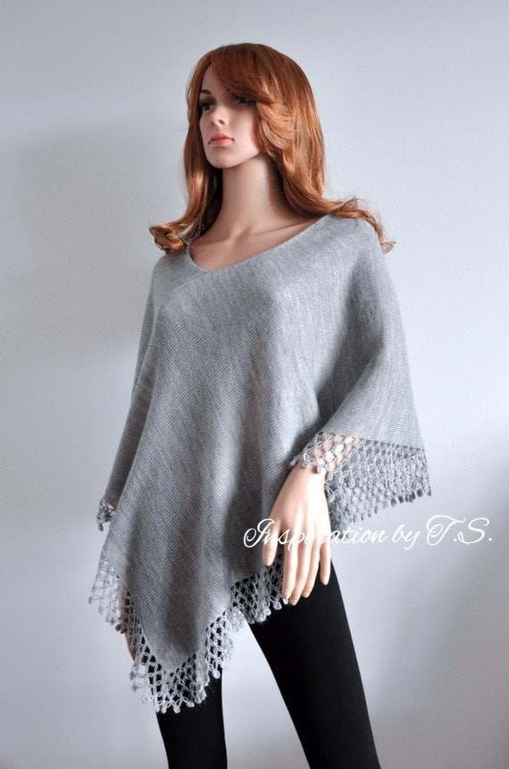 Light cape poncho chic Wool knit Gray melange sweater Hand knitted jumper 100% hand made Women asymmetrical poncho