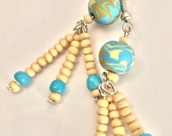 Tan and Turquoise Earrings