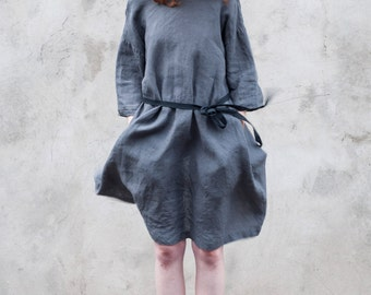 Long sleeves pocketed womens linen dress, with open back, handmade in high quality