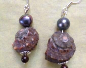 Grey pearl & shell earrings