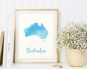 Australia map printable, Watercolor print, Australia print, Australia poster, Watercolour art, Printable map, Housewarming gift, Painting