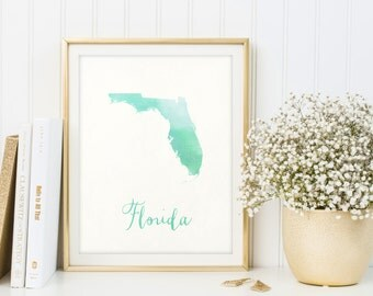 Florida Map Printable, Watercolor Print, Florida Poster, Florida Decor,  Housewarming, Florida