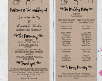 DIY Rustic Wedding Program Template Printable, Editable  Program PDF Template, Instant Download, Digital, Mason Jars and Flowers #1CM90-1