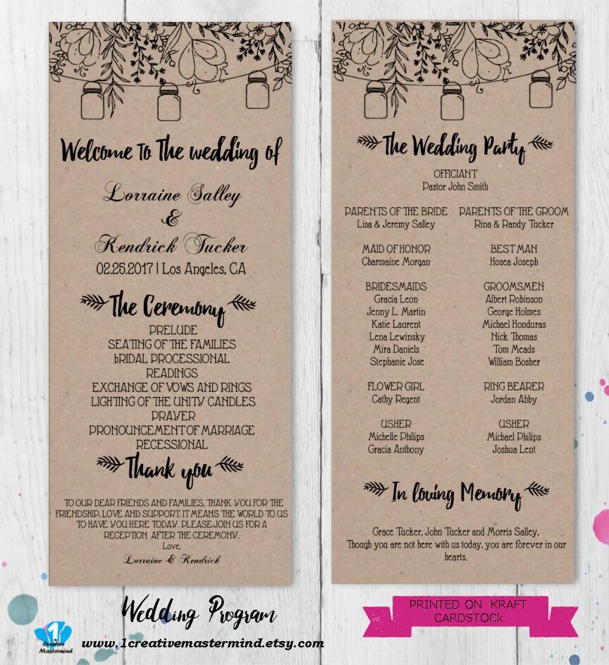 Wedding Program Ideas Templates: DIY Rustic Wedding Program Template Printable Editable