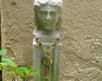 Pink and Green Necklace with Cloisonné Pendant which has pink & Red Flowers, Green  Leaves
