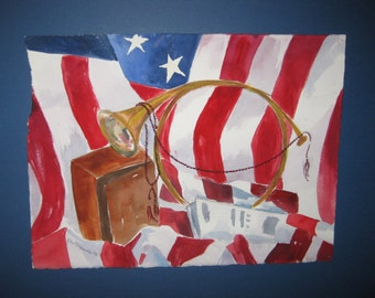16x20 Watercolor Patriotic, Original, matted, included, optional