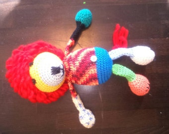 Crochet lion Mirko in the Saturday night fever