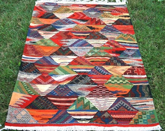 Colorful Diamond Patterns, 4x5 ft Moroccan Kilim Rug