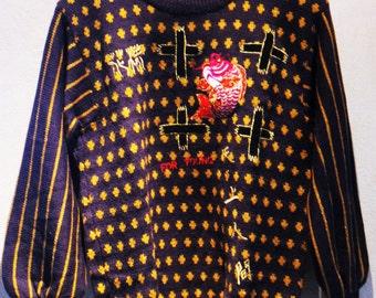 Rare Vintage 80s Kansai Yamamoto Embroidery Fish Knit Sweater Made in Japan Size M UK 12 EU 38