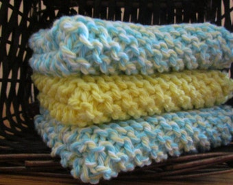 Set of 3 Hand Knitted Dishcloths - Yellow/Blue