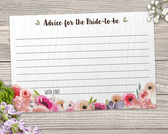 """Printable Rustic Faux Bois Watercolor Wildflowers Advice Card, Bridal Wedding Shower, 6""""x4"""", JPG Instant Download"""