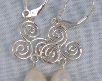 White freshwater pearl & sterling silver spiral earrings